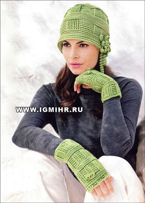 Светло-зеленая шляпка и митенки  для истинной леди