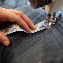 Стильный гамак из старых джинсов. Шаг 10