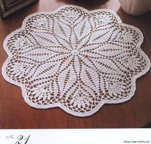 Круглые салфетки крючком. Схемы (20) (700x668, 448Kb)