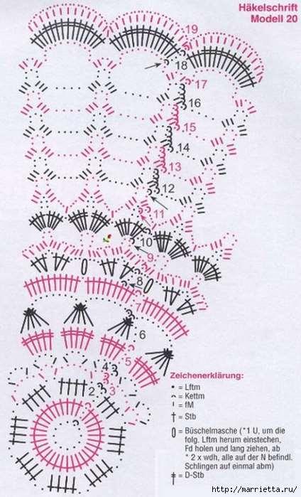 Круглые салфетки крючком. Схемы (13) (424x700, 239Kb)