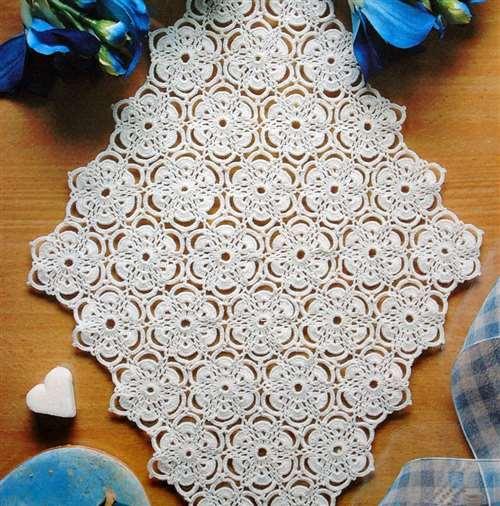 симпатичный цветочный мотив крючком схема