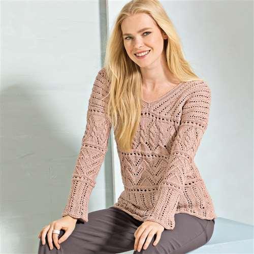 Пуловер с ажурными узорами спицами