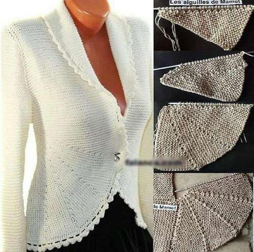 Необычный жакет платочной вязкой