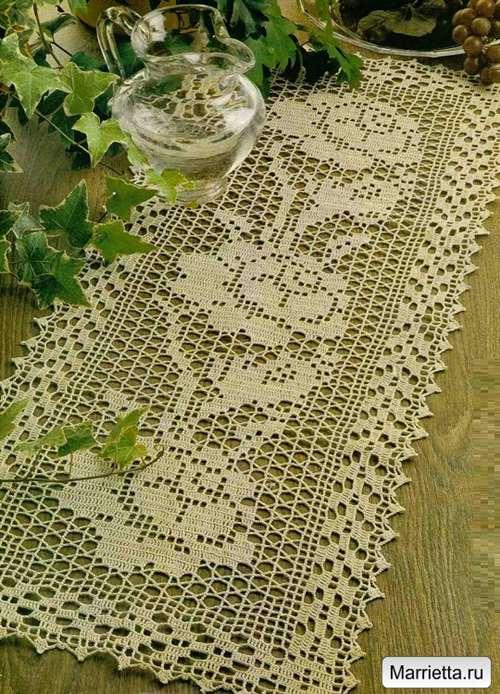филейное вязание с розами схемы